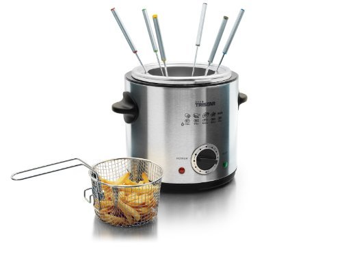 Combined Fondue Pot Set & Mini Stainless Steel Deep Fryer Gift Set by Tri-Star