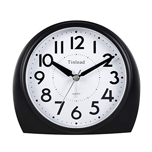 5.5' Silent Analog Alarm Clock Non Ticking, Gentle Wake, Beep Sounds, Increasing Volume, Battery Operated Snooze and Light Functions, Easy Set, Black (Best for Elder)