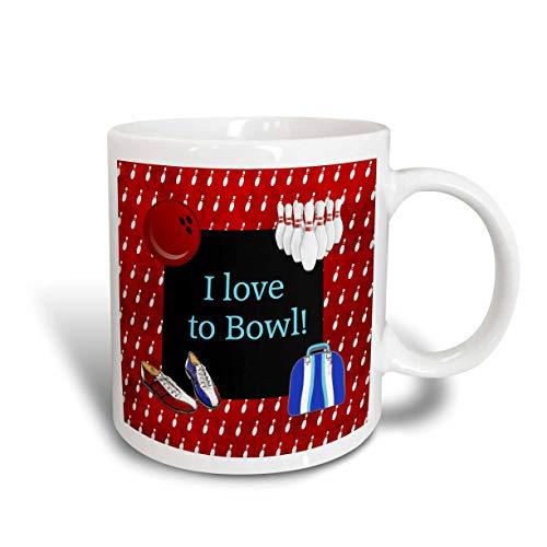 I Love Bowling Pins Zapatos y bolso de bola Rojo Azul y blanco Taza de dos tonos 11oz Multicolor