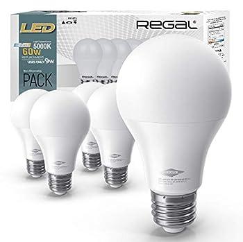 Regal LED A19 Light Bulb 5000K Daylight 800-Lumen 9-Watt  60-Watt Equivalent  E26 Base 5000 Kelvin Day Light 5-Pack Non-Dimmable