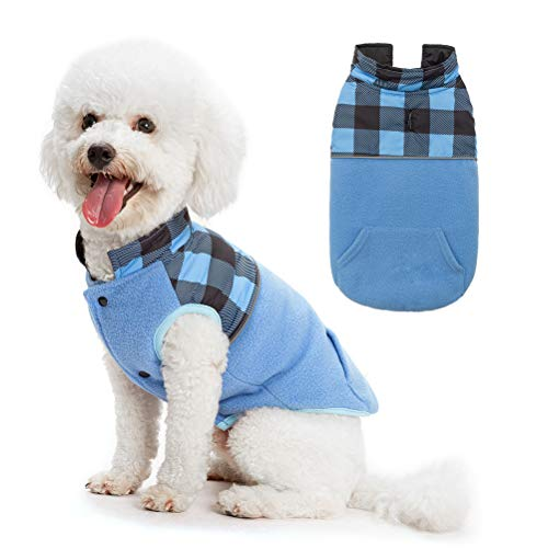 SCIROKKO Polar Fleece Dog Vest Winter Coat with Water-Proof Side - Reversible Pet Cold Weather Clothes - Plaid Jacket Cute Clothing for Puppy & Cats