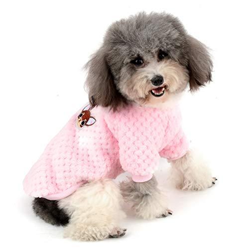 ZUNEA Suéter para Perros Pequeños Invierno Cálido Abrigo Jersey Forro Polar Muy Suave Ropa Mascotas Cachorros Clima Frío Ropa para Gatos Chihuahua Perro Niños Niñas Rosa S