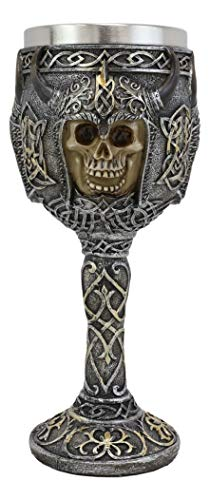 Ebros Gothic Viking Warrior Of Valhalla Grinning Skull Wine Goblet With Celtic Knotwork Ossuary Macabre Skulls Drink Chalice Cup Figurine 8oz