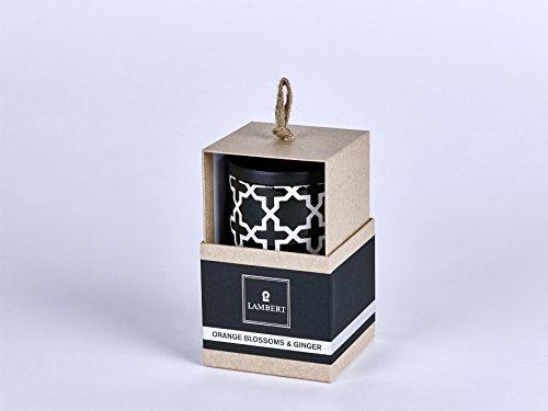 Lambert  Duftkerze, Kerze EBBA  im Gefäß mit Deckel Keramik Schwarz Höhe 8 cm-Ø 9 cm