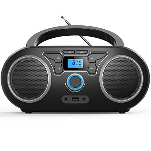 Tragbarer CD-Player Boombox,CD-MP3 Player,CD/CD-R,USB,FM Radio,AUX-In,CD Player Radio,Stereoanlage,Kompaktanlage CD-Boombox(WTB771)