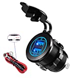 YONHAN 36W Quick Charge 3.0 Dual USB Car Charger Socket, Waterproof 12V USB Outlet with Blue LED & 10A Fuse...