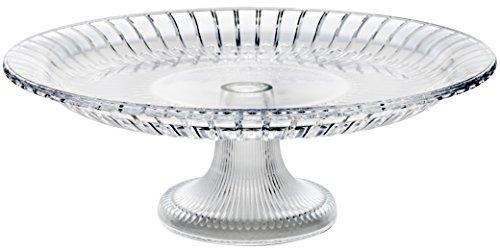 Möbelbörse Kuchenplatte Tortenplatte auf Fuß Kuchenständer Tortenständer Servierplatte Kristall Glas Ø34cm