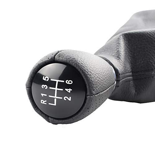 Palanca de cambios Cuero Gear Shift Knob fuelle marco for Seat Leon 1 MK1 for Toledo II MK2 polaina Cubierta de arranque y el bastidor de base Shifter (Color Name : 6 speed)
