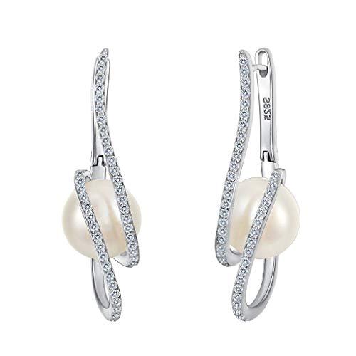 Clearine Damen Ohrringe Perle Elagent Vintage 925 Sterling Silber CZ Creme Süßwasser-Zuchtperle Filigran Huggie Ohrringe Klar