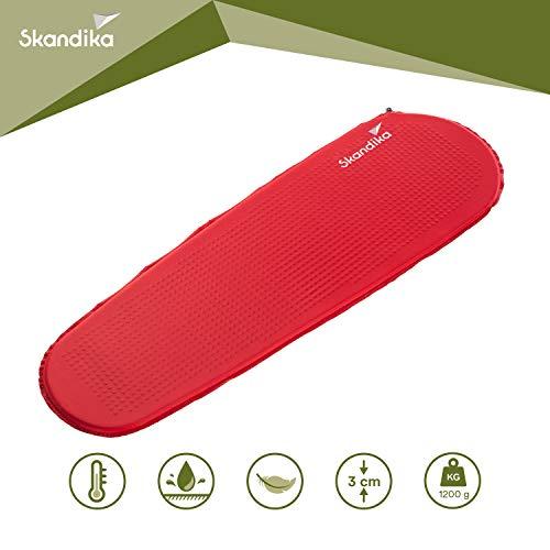 skandika Red Trek Ultralight Isomatte selbstaufblasend Ultraleicht 194 x 63 x 3 cm (rot)