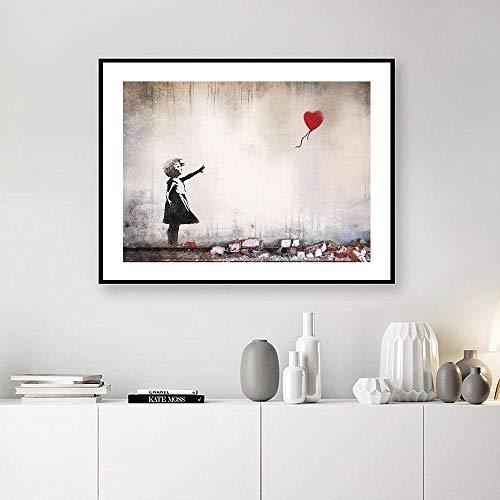 JRLDMD Banksy Painting Minimal Illustration Wall Art Girl with A Red BalloonCanvas Prints Graffiti Poster Wall Pictures Decoración para el hogar 40x60cmx1 Sin Marco