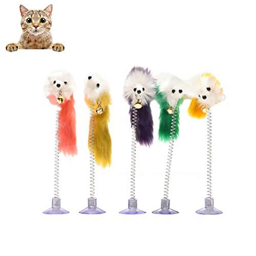 Leikance Katzenspielzeug, Feder, lustige Katzenmäuse-Form, falsche Maus, Haustierspielzeug, Feder, Saugnapf, 5 Stück