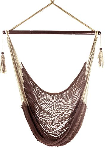 Krazy Outdoors Mayan Hammock Chair - Large Cotton Rope Hanging Chair Swing with Wood Bar - Comfortable, Lightweight - for Indoor & Outdoor Porch, Yard, Patio and Bedroom (Mocha Brown)