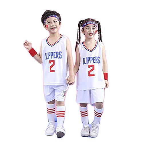 Herren Basketball Jersey Set Clippers Leonard Nr. 2 Kinder Sommer Basketball Spiel Jersey-White-S