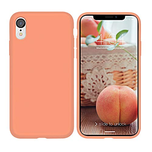xperg iPhone XR Case, iPhone XR Case Silicone, Slim Liquid Silicone Gel Rubber Shockproof Case Soft Microfiber Cloth Lining Cushion Compatible with iPhone XR 6.1' 2018 (Peach (Full Body))