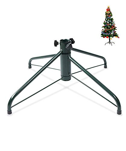 ELFJOY Christmas Tree Stand 19.7' Iron Metal Bracket Fits 1.26' Pole Rubber Pad with Thumb Screw
