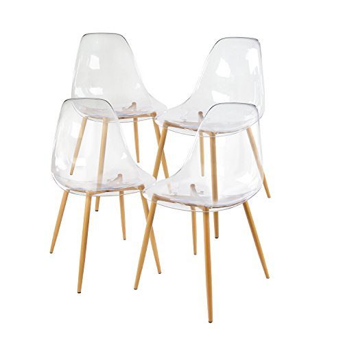 GreenForest Acrylic Dining Side Chairs Lucite Transparent Clear Seat...