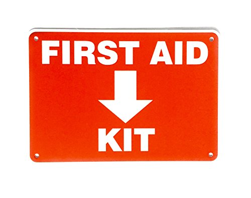First Aid Sign, Durable Plastic Safety Sign, 7 x 10 Inch, Red on White, for Indoor/Outdoor Use