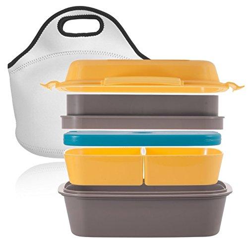 [NEU] Premium Bento Lunch Box – Mehrere Fächer, Variable Gestaltung, Eingebauter Optionaler Gel Kühlakku, 100% Auslaufsicher – incl. Neopren Transporttasche