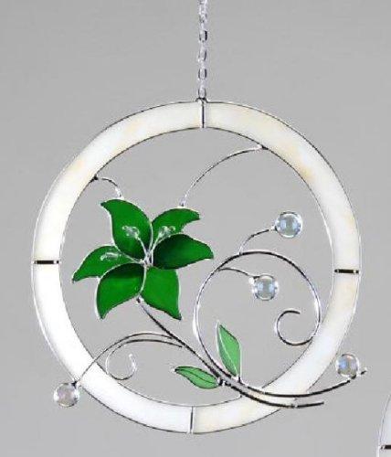 dekojohnson Hängedeko Fensterbild Tiffany Glas Blume Kugeln Verziert Grün Deko Frühling Sommer 21 cm inkl Geschenkkarte