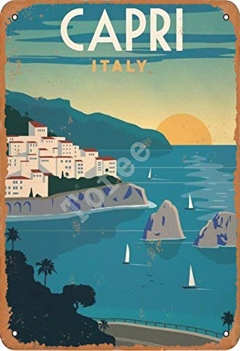 Tofee Capri Italy Iron Poster Vintage Painting Tin Sign for Wall Decoration Crafts