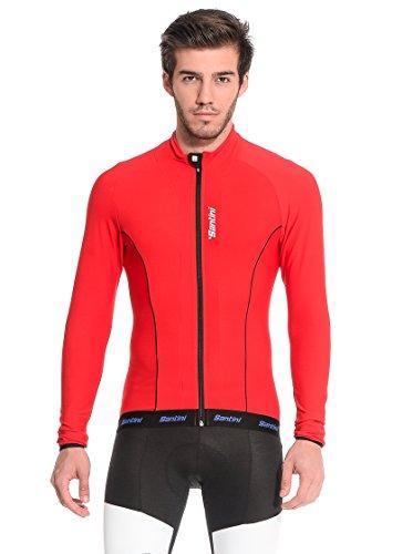 Santini H21 Acquazero - Maillot de Ciclismo para Hombre, Color Rojo (MRN),...