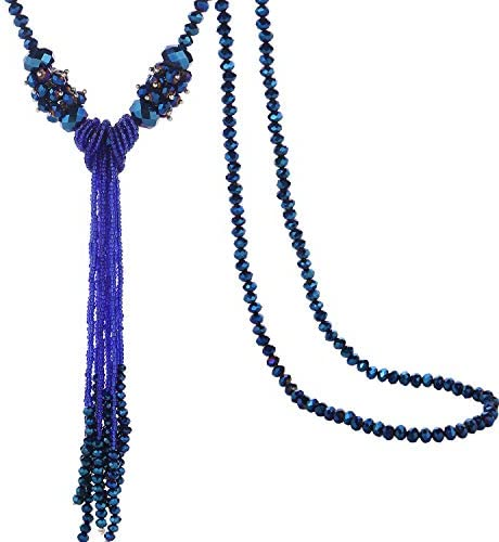 BaubleStar Long Beaded Tassel Necklace for Women Girls Roayl Blue Beads Chain Statement Sweater product image