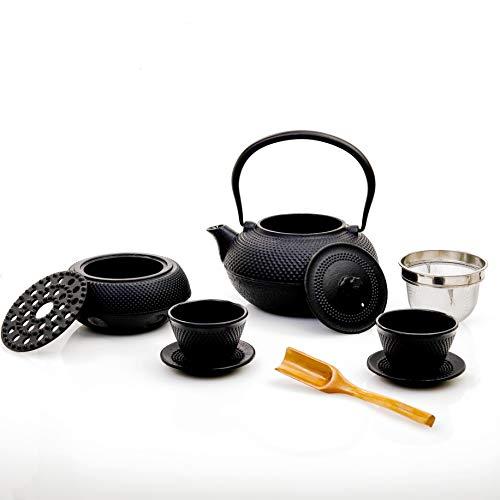 Lumaland Servicio de té 8 piezas: tetera de 1,4 litros, cucharilla dosificadora, 2 tazas con platillos de hierro fundido