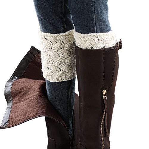 Women Boot Cuffs - Winter Knitted Boots Socks Crochet Short Leg Warmers(8# white)