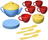 Green Toys Tea Set, Blue CB - 17 Piece Pretend Play, Motor Skills, Language & Communication Kids Role Play Toy. No BPA, phthalates, PVC. Dishwasher Safe, Recycled Plastic, Made in USA.