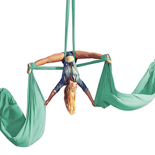 Aerial Silks Beginner Kit - For Aerial Dance, Acrobatic Antigravity, Aerial Yoga Hammock - Includes 9 Yards of Aerial Tricot Fabric, Hardware & Guide - Suitable for Rigging Point Upto 13ft (Aqua)