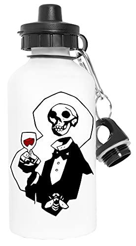 Esqueleto Cabeza Deporte Viaje Blanco Botella De Agua Metal Prueba de Fugas Sport Travel White Water Bottle Leak-Proof