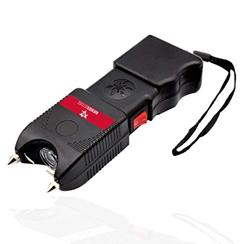 Avenger Defense ADS-200 – Rechargeable Stun Gun for Self Defense and Protection – Built-In LED Flashlight and Extremely Loud Alarm – Powerful 1.4uC Electric Charge and 130dB Siren – Metal Prongs