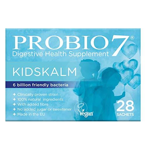 Probio7 Kidskalm | Integratore digestivo per bimbi/bambini (28 bustine) | Ogni busta rilascia 6 miliardi di batteri'amici' | con fibra in aggiunta