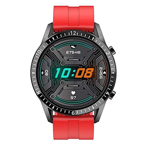 XYJ Moda Círculo Completo de Pantalla táctil Reloj Inteligente Reloj Impermeable Deportes Fitness Reloj de Lujo Bluetooth teléfono móvil Reloj Inteligente Hombres, (Color: Correa de Silicona roja)