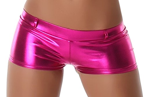 Jela London Wetlook GoGo Hot-Pants Shorts Panty kurz Glanz metallic, Pink Fuchsia