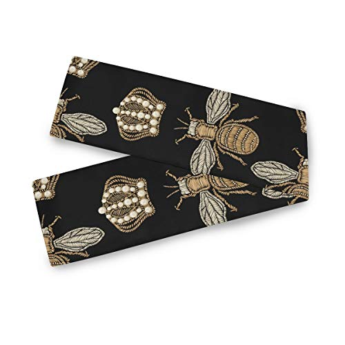 AGONA Gold Embroidery Bee Crown Black Table Runner 13 x 70 Inches Double Sided Long Table Linens Cloth Top Dresser Scarf for Dinner Dining Party Wedding Kitchen Home Decor