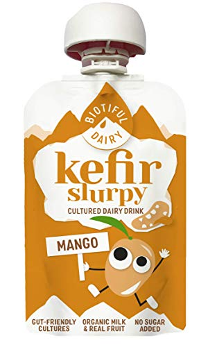 Biotiful Kids Kefir -Slurpy Mango -100ml - Kefir Kids Drink - Gut-Friendly Cultures- No Added Sugar - Gluten Free - High Protein -Kids Dairy Drink - Kefir Milk Ready to Drink