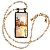 moex Handykette kompatibel mit iPhone 12/12 Pro - Silikon Hülle mit Band - Handyhülle zum Umhängen - Hülle Transparent mit Schnur - Schutzhülle mit Kordel, Wechselbar in Gold