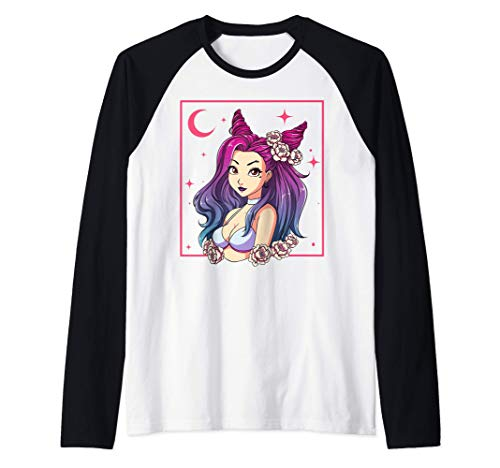 Japonés Japón Goth Anime Girl Kaiju Gothic Anime Camiseta Manga Raglan