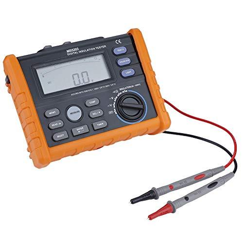 Medidor de resistencia, PEAKMETER MS5203 Pantalla digital y analógica 50-1000V Medidor de prueba de resistencia de aislamiento Cálculo automático-Probador de voltaje de CA y CC