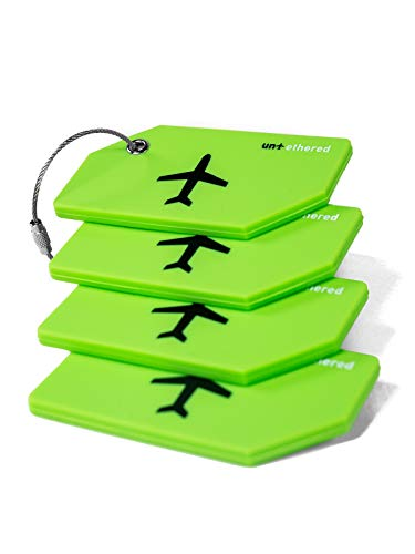Untethered Luggage Tag Set | 4 Pack Flexible & Bright Silicone Baggage Tags for Travel & Suitcases. Includes Name Cards with Partial Privacy Cover &...