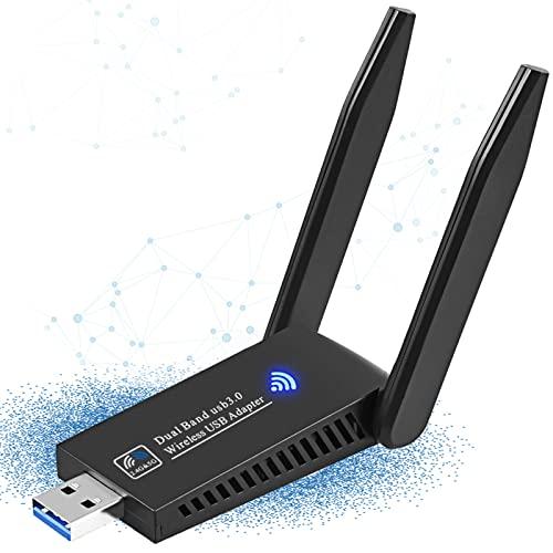WiFi Adaptador AC 1200Mbps USB WiFi Receptor Dual Band 2.4G/5GHz, Antena WiFi para PC Desktop Laptop Computadora, Doble Banda con Antena Externa y Señal Potente,Soporta Windows 10/7/8/8.1/XP, Mac OS X