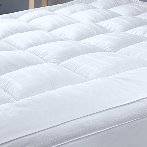 3' Extra Thick Mattress Topper with 100% Cotton Cover, Double Size, Baffle Box Stitched Design, New & Improved Down Alternative Bed Topper for Optimum Cushioning & Support, Breathable(135x190cm)
