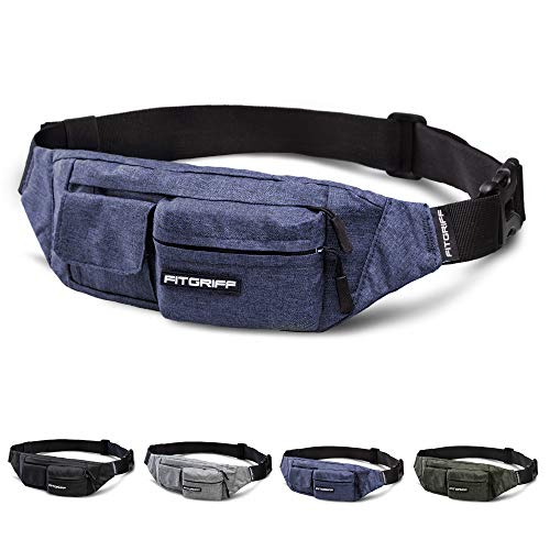 Fitgriff® Bauchtasche Slim Fit für Damen und Herren - Gürteltasche, Hüfttasche, Brusttasche, Fanny Pack - Gürtel Tasche (Navy Blue, Small)
