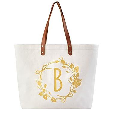 ElegantPark Monogram B Personalized Tote Bag with Interior Zip Pocket Canvas