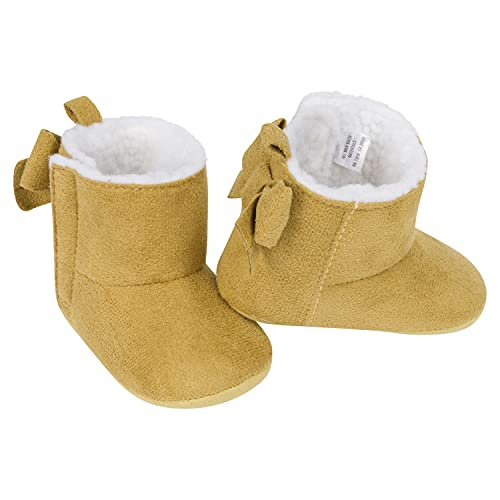 Gerber Baby Girls Cozy Boots Crib Shoes Newborn Infant 0-9 Months, Taupe Bootie, 6 9 Unisex