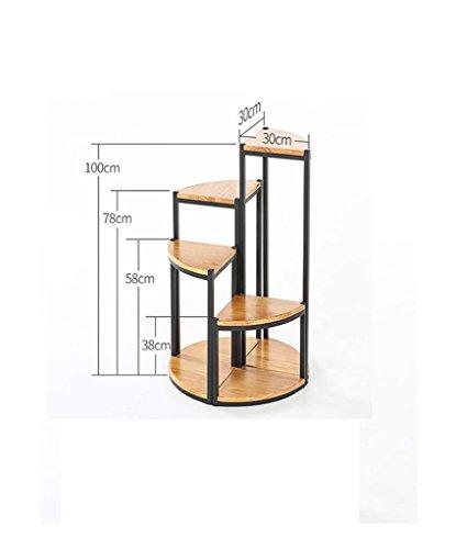 FZN Américain Bois étage Salon Balcon siège de Fleur de Style européen Coin siège escalier en Fleur Multicouche étagère Pots de Fleurs (Taille : 38+58+78+100)