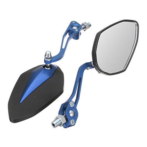 YONGYAO 8Mm 10Mm Moto Rétroviseurs pour Honda/Yamaha/Suzuki/Harley Universel-Bleu