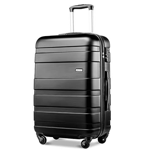 Merax Lightweight Luggage Hard Shell 4 Wheels Travel Trolley Suitcase Holdall Cabin Case (M, Black)